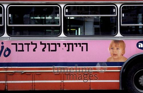 Buswerbung in Israel, 1987 Juergen/Timeline Images