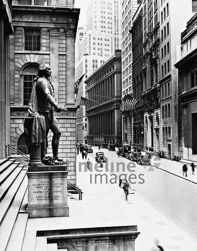 George Washington-Denkmal vor der Federal Hall in der Wall Street, 1933 Timeline Classics/Timeline Images