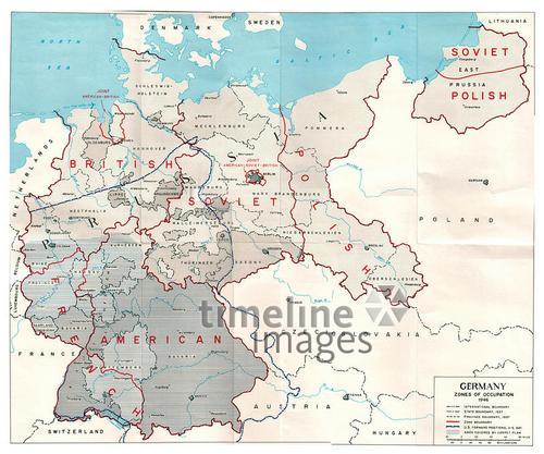 Karte Von Der Aufteilung Deutschlands In Vier Besatzungszonen