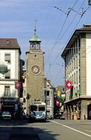 Uhrturm in Rue d'Italie in Vevey Raigro/Timeline Images